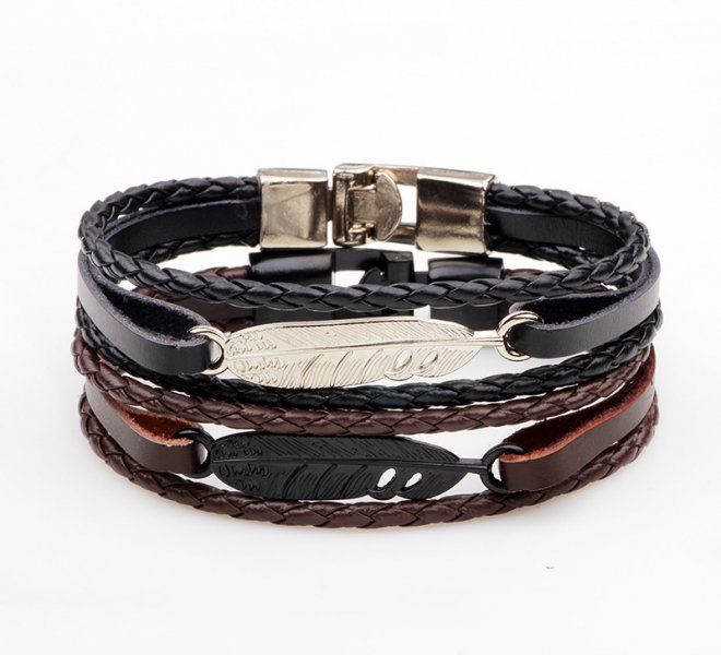 ER-Black-Feather-Bracelet-Men-Vintage-Real-Brown-Braided-Leather-Bracelets-Wrist-Band-Braclet-Male-Hand