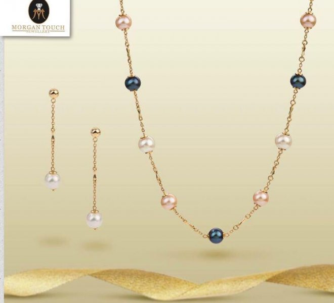 Gold 18k set with sea pearls