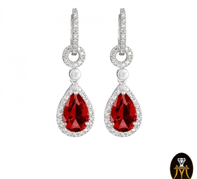 Diamonds earrings with Rubies tear